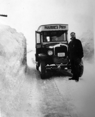 Frisbie driver and truck, adrift in a white, frozen wasteland, February, 1934