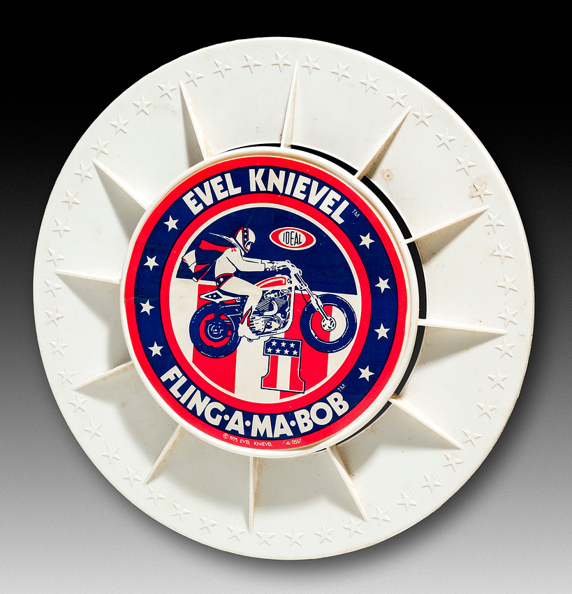 Evel Knievel Fling-A-Ma-Bob—Ideal—White—Blue, Red