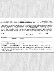 IFA Application Card 1967