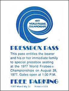1977 WFC Pressbox Pass
