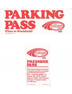 1979 WFC Parking Pass and Pressbox Pass