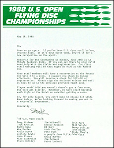 1988 US Open Staff Invite Packet